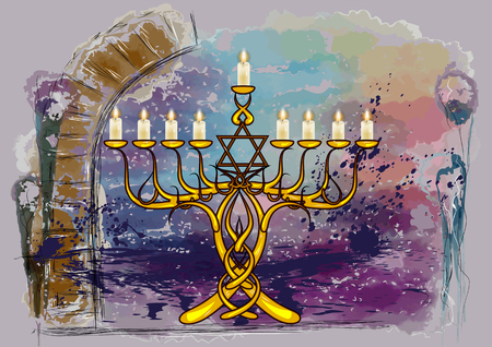 menorah with candles on abstract multicolor grunge background