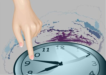stopped: stopped time. hand with clock on abstract grunge background