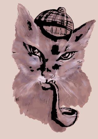 tobacco pipe: cat with tobacco pipe and a hat