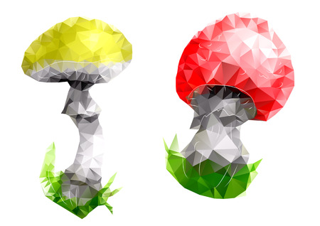 agaric: mushroom. triangular abstract design isolated on white Illustration