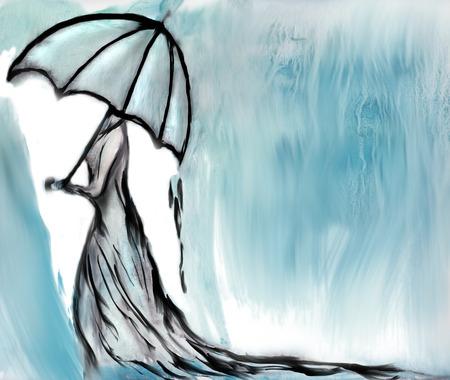 sotto la pioggia: donna in abito lungo con l'ombrello sotto la pioggia
