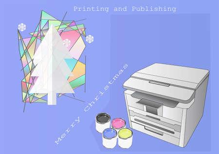 publishing: Printing and Publishing Christmas. Greeteng card for Printing and Publishing profession Illustration