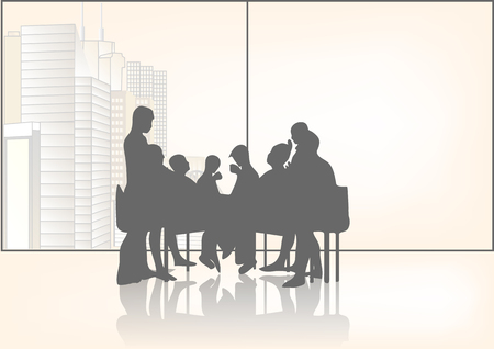 teamwork business: business meeting. abstract silhouette of group of people Illustration