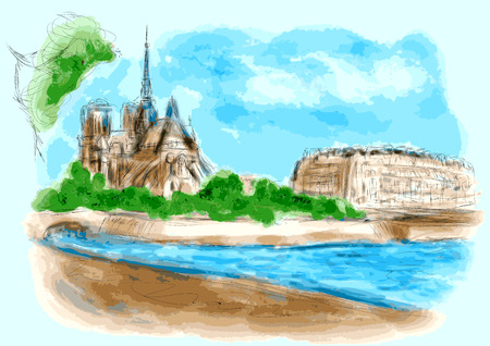 notre dame de paris: Notre Dame de Pari in watercolor Illustration