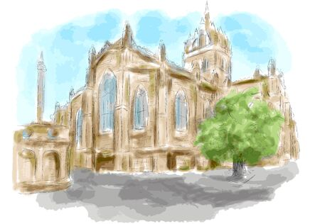 edinburgh: edinburgh.vector Kirche stilisiert als Aquarell malen