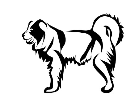 Caucasian Shepherd Dog abstract silhouette on a white background
