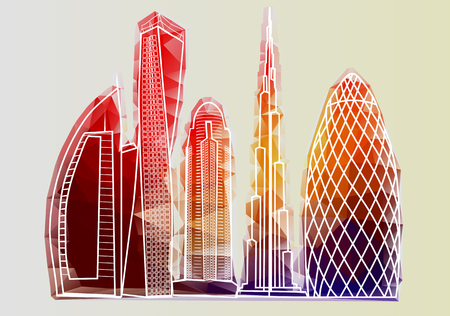 abstract building: dubai skyline3. abstract building isolated on white background Illustration