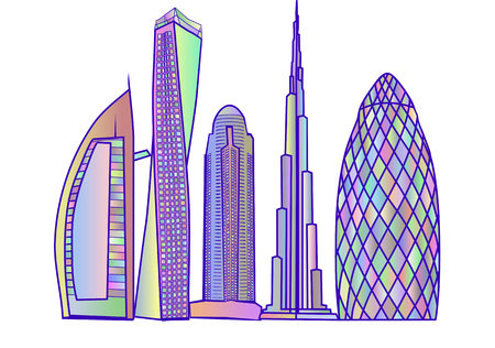 abstract building: dubai skyline2. abstract building isolated on white background Illustration