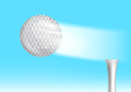 golf ball on tee: golf ball in the sky Illustration