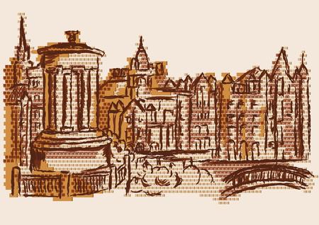 biege: edinburgh skyline. abstract towh on biege background