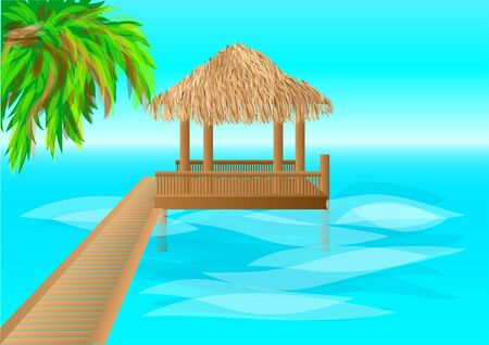 maldives island: maldives. over water bungalows with steps into lagoon