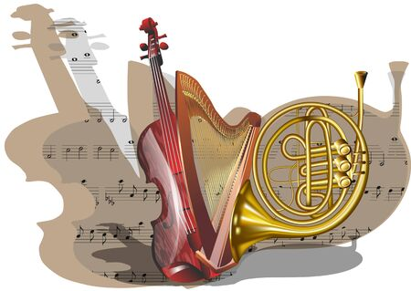 orchestra: instruments of orchestra with note