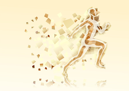 abstract running man on abstract multicolor background Illustration