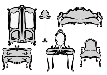antique furniture: antique furniture isolated on a white background