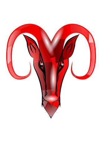 diabolic: red aries sign isolated on white background