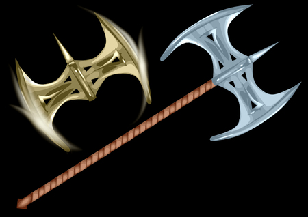 sharpen: double axe isolated on a black background Illustration