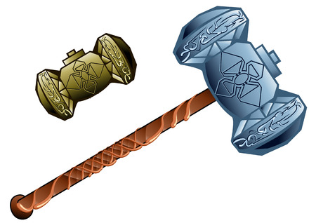 two dwarven hammer isolated on a white background