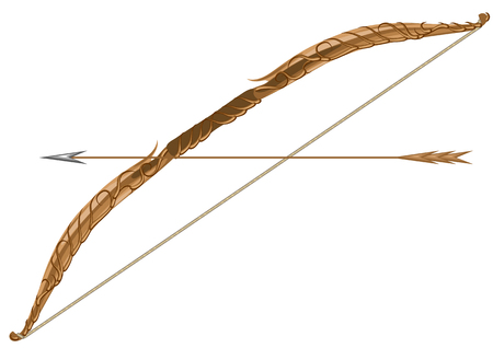elven: elven longbow and arrow isolated on a white background
