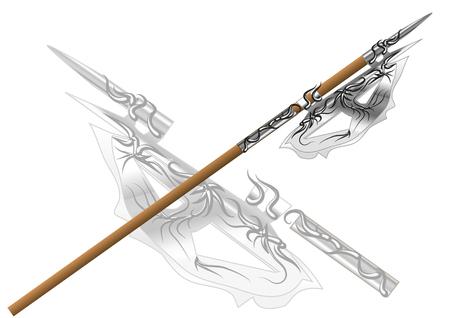 fantasy halberd isolated on a white background. Ilustração