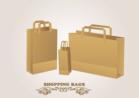 biege: brown shopping bags. Natural  bags on biege background