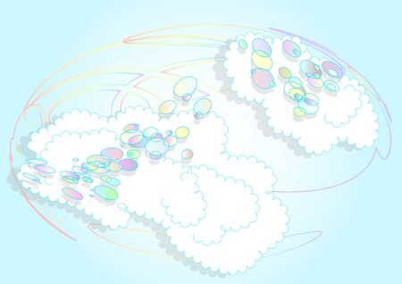 ร   ร   ร   ร  ร ยข  white clouds: bubbles and clouds. abstract earth as rainbow and white clouds Illustration