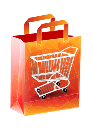 isolatd: shopping bag with cart isolatd on a white background Illustration