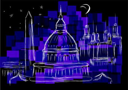 dc: washington dc. city landmark against a dark sky