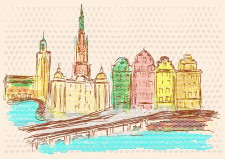 urban building: Stockholm. abstract silhouete of urban building Illustration
