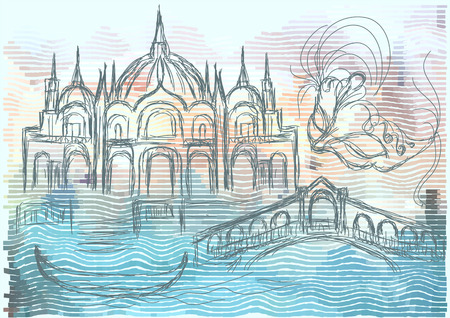 channel: venice. abstract silhouette of city on multicolor background Illustration