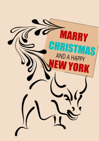 financial district: new york christmas. bull and abstract christmas tree with inscription