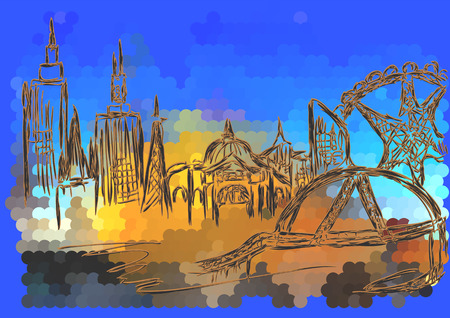 melbourne: melbourne, abstarct silhouette of city on multicolor background