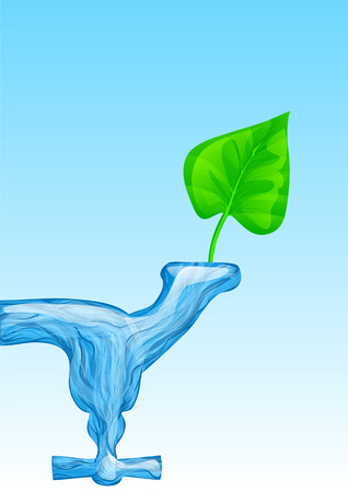 L'eau pour la vie. eau fluide comme valve et feuille verte