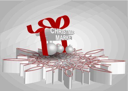 der Weihnachtsmarkt. abstract christmas shopping Hintergrund mit Geschenk