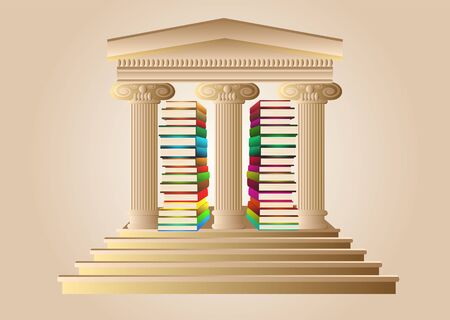 university sign: university sign. ancient columns and abstract books Illustration