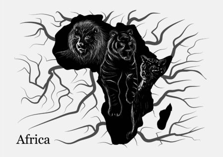 tigre: africa. white silhouette of animl on abstract map of africa Illustration