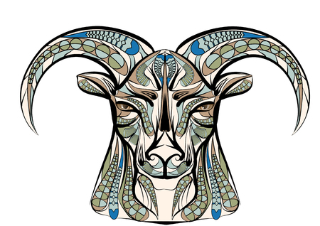 rams horns: ethnic sheep isolated on a white background Illustration