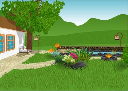 moderne tuin met bloemen en smal vijver