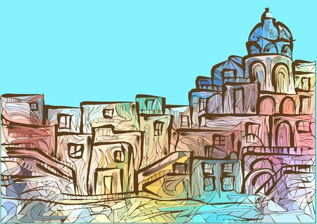 naples: Naples. abstract multicolor silhouette of italian city Illustration
