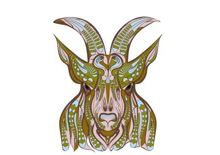 goat head: ethnic goat isolated on a white background