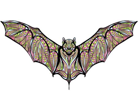 nocturnal: ethnic bat isolated on a white background