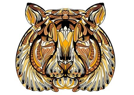 etnische tijger geïsoleerd op een witte achtergrond
