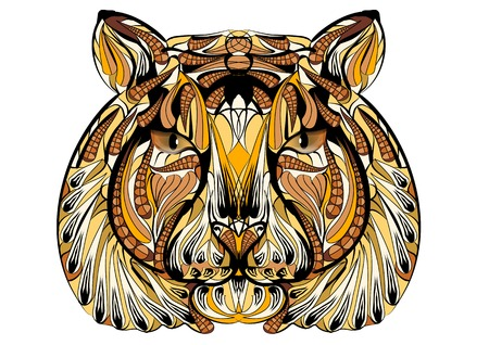 Etnische tijger geïsoleerd op een witte achtergrond Stockfoto - 44351514