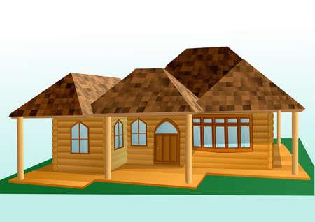 an exterior: wooden house exterior. small wooden house on green grass