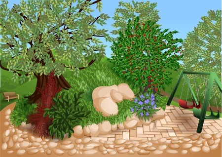 children playground: park with trees, multocolor flowers and children playground Illustration
