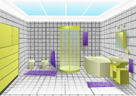 bathroom faucet: bathroom interior with green sanitary. 10 EPS