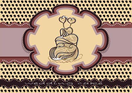 cake background: wedding cake background. card with sweet wedding cake Illustration