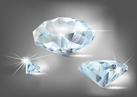 set of diamonds on a dark background Ilustracja