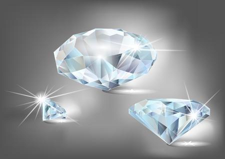 set of diamonds on a dark background Illustration