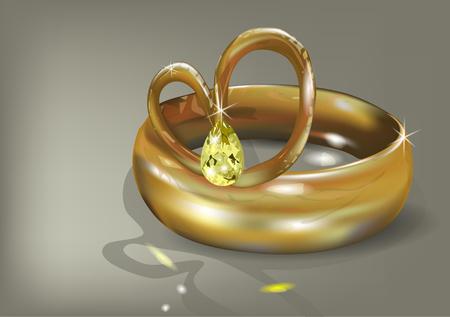diamond rings: wedding ring with stone on dark background Illustration