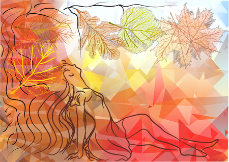 woman and autumn, abstract silhouet of woman and leaves Illustration